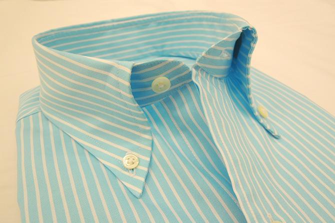 ブルーストライプシャツ 衿2
